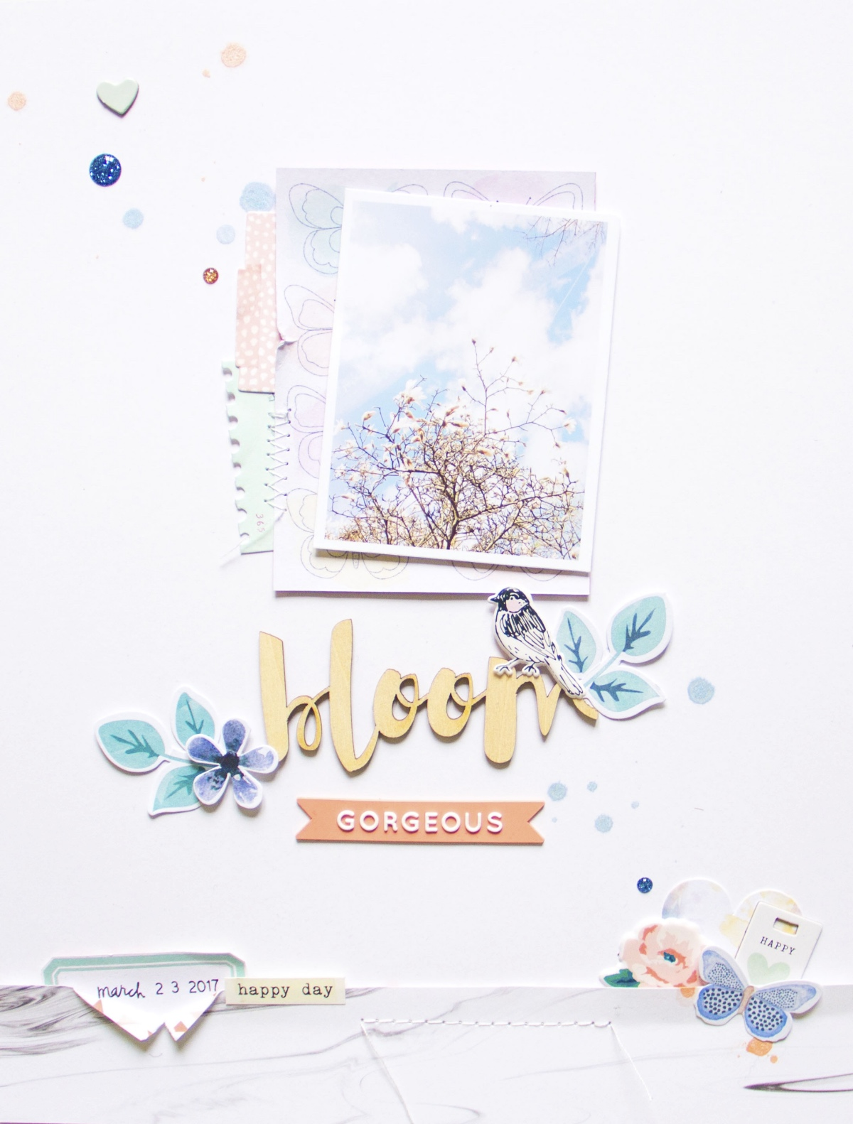 Bloom by ScatteredConfetti. // #scrapbooking #layout #cocoavanilla #wildatheart