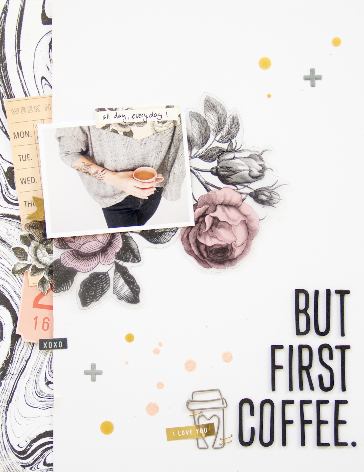 But First Coffee by ScatteredConfetti. // #scrapbooking #layout #cratepaper