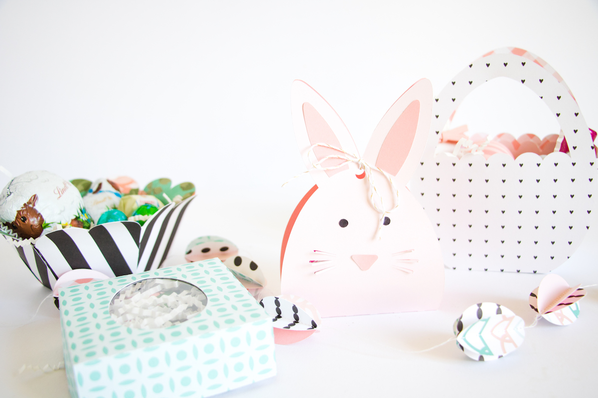 Scattered Confetti Happy Easter With Some Cute Treat Bags