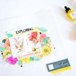 Never Stop Exploring by ScatteredConfetti. // #scrapbooking #pinkfreshstudio #watercolors