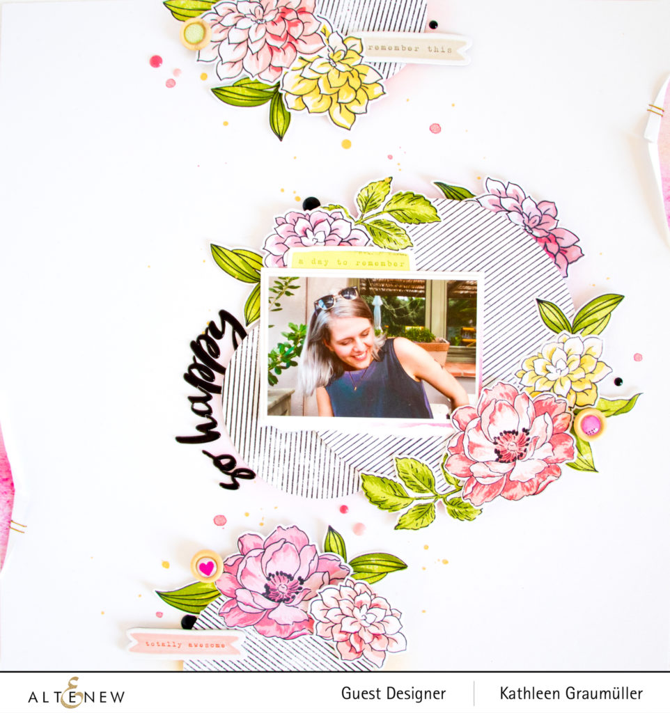 So Happy by ScatteredConfetti with the Altenew Build-a-Flower Dahlia stamp set. // #scrapbooking #altenew
