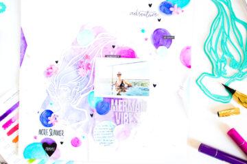 Mermaid Vibes by ScatteredConfetti. // #scrapbooking #janedavenport #spellbinders